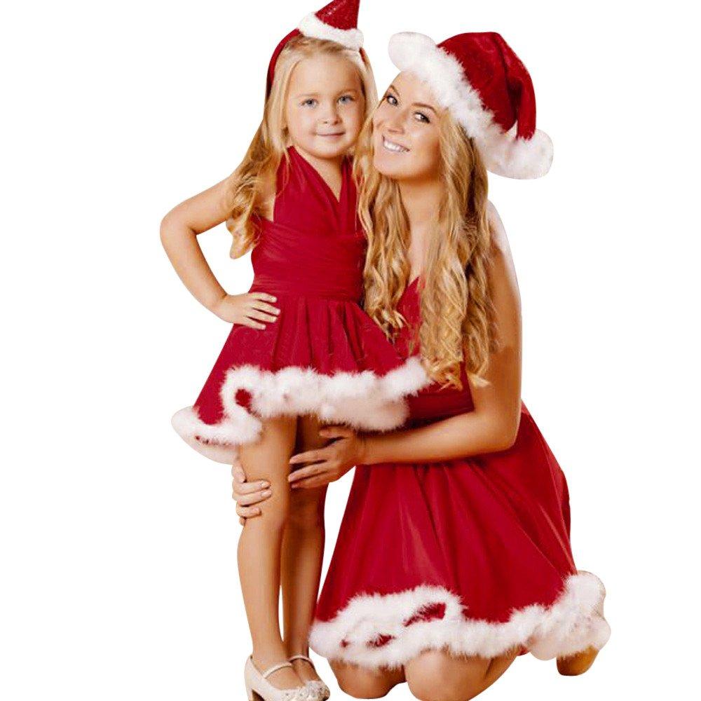 Goosuny Damen Mädchen Kind Weihnachten Einfarbig Bandage Ärmellos Weihnachtskleid Partykleider Mutter Und Tochter V Ausschnitt Weihnachten Abendkleider Festliche Kleider Knielange