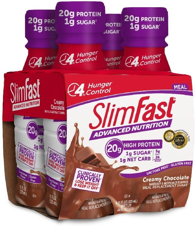 Slimfast Advanced Nutrition Creamy Chocolate Shake – Ready To Drink Meal Replacement – 20g of Protein – 11 Fl. Oz. Bottle – 4Count