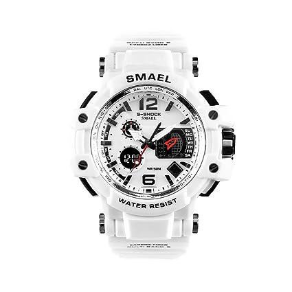 smael serie hombres relojes blanco reloj deportivo digital LED 50 m resistente al agua Casual reloj