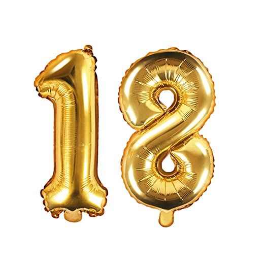 Unbekannt XXL Globo de plástico/Número 18 en Oro/de ...