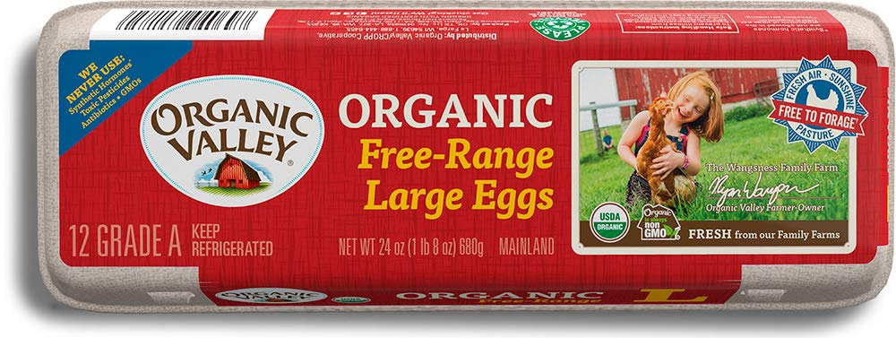 Organic Valley, Organic Free-Range Large Brown Eggs, Dozen (12 Count)