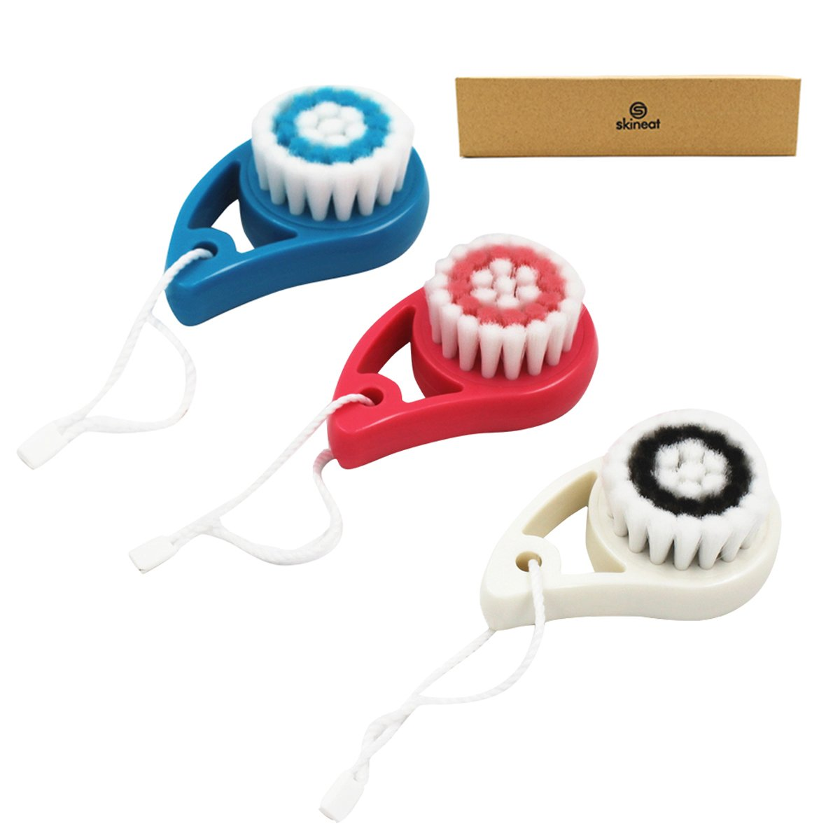 skineat Facial Cleansing Brush And Bodys Soft Red White And Blue Small Set of 3 Pack