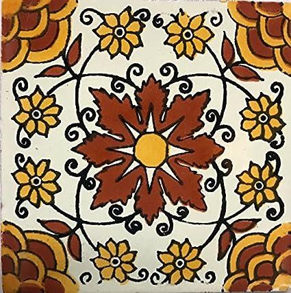 Amazon.com: Pared de Talavera azulejos 4.25 x 4.25 pintado a ...