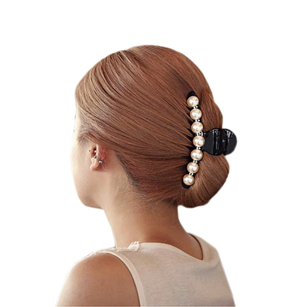 Lisli 1pcs Pearl Women Kid Girl Hair Clip Pin Claw Barrettes Accessories (Big (9cm))