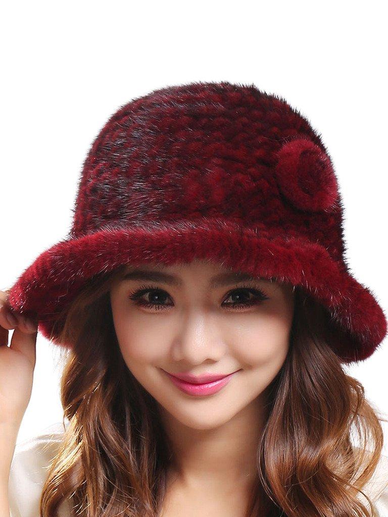 LITHER Women's Trendy Warm Stretch Real Mink Fur Bucket Winter Hat Cap(Burgundy)