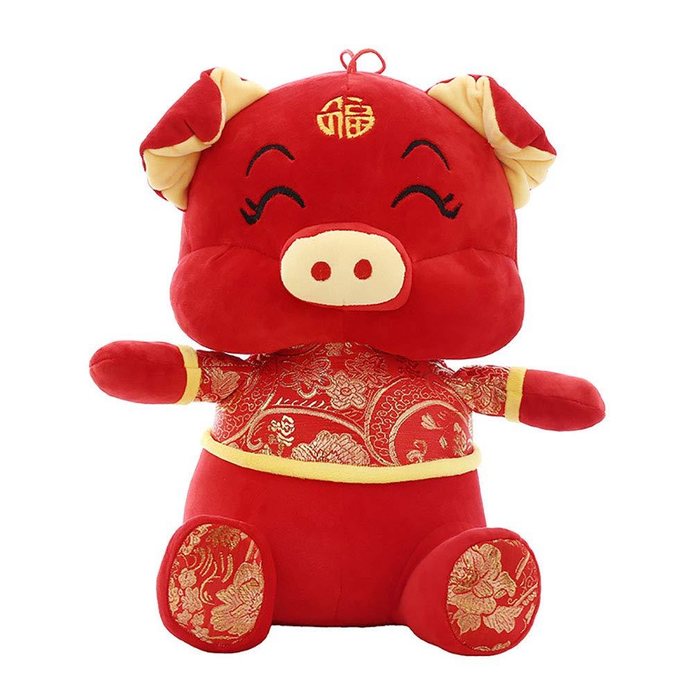 GJC Almohada año del Cerdo Mascota muñeca Felpa Juguete Abajo algodón Acolchado Suave hogar sofá decoración para Enviar Amigos Regalo tamaño King,50CM