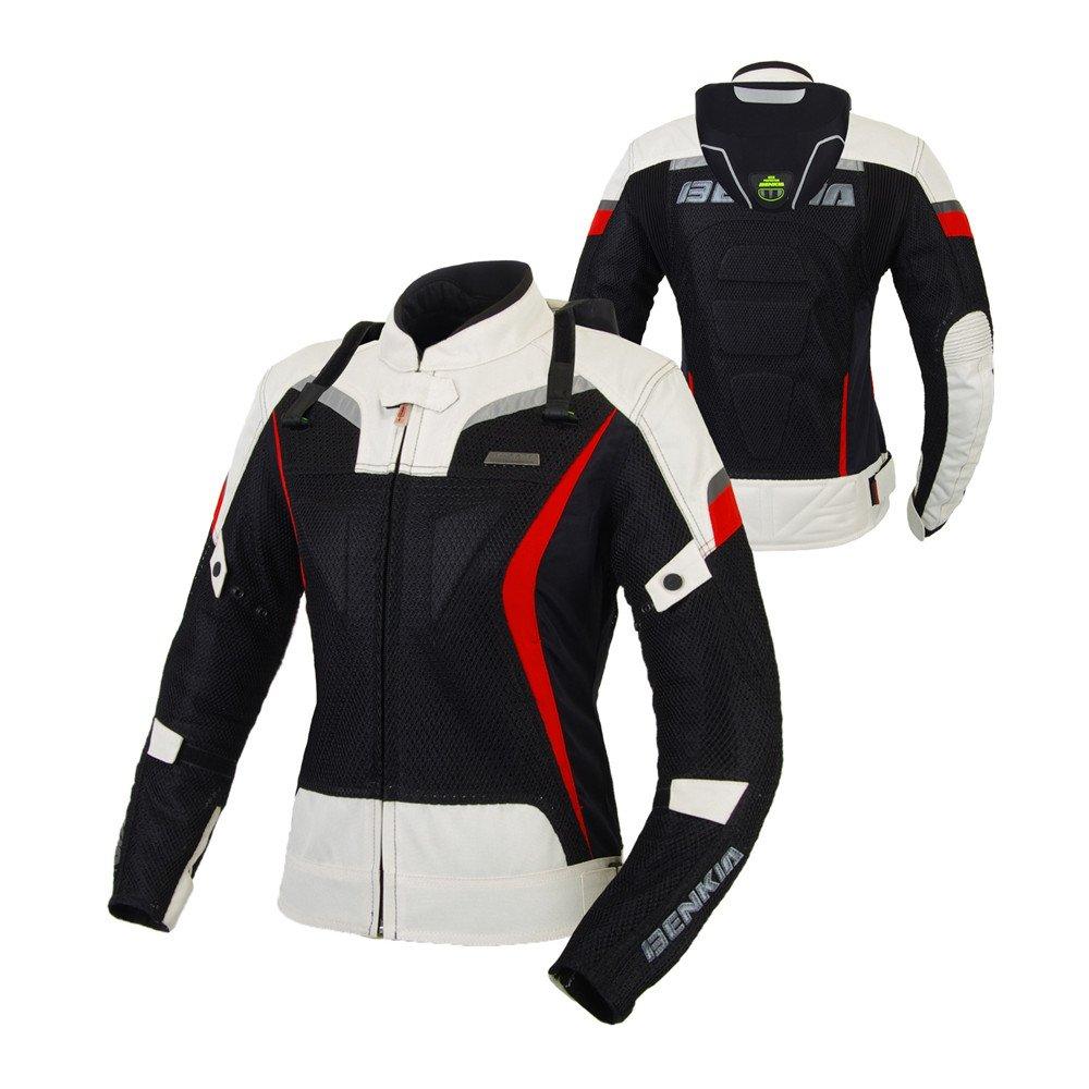 BENKIA バイクジャケット レディース メッシュジャケット 春夏秋 プロテクター  メーカ保証 バイクウェア Large ホワイト B076BQ1N42
