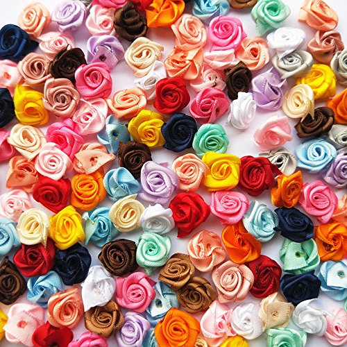 Mosheng Accessory 100pcs Mix Lots Satin Ribbon Rose Flowers Sewing Craft Ribbon Bows Wedding Home Party Decoration (Mix Colors)