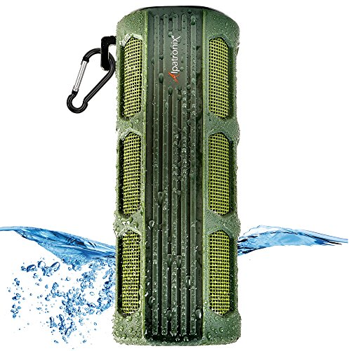Waterproof Bluetooth Speaker, Alpatronix AX410 3000mAh Portable 12W Stereo Shockproof Wireless Speaker with Built-in Mic & Passive Subwoofer for iPod, Smartphones, Tablets, Laptops & PC - Green