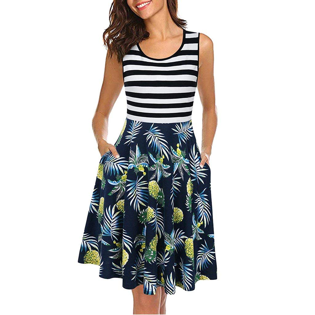 Women's Sleeveless Patchwork Dress Scoop Neck Casual A-Line Striped Floral Sleeveless Tank Dress with Pockets (Navy, L)