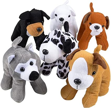 Set Of Dog Stuffed Animals, Amazon Com Artcreativity Dog Plush Assortment Set Of 6 Soft And Cuddly Stuffed Animals For Toddlers 6 Cute Puppy Designs Fun Birthday Party Favors Kids Carnival Prize