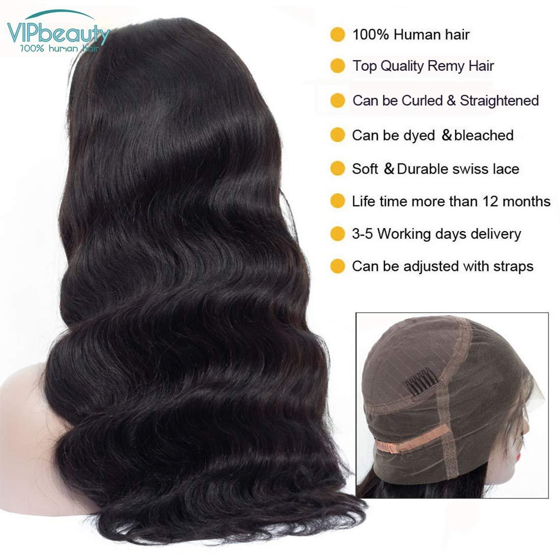VIPbeauty 360 lace frontale perruque body wave Ondulé brésiliens vierges  avec cheveux de bébé 180% Densité pour femme