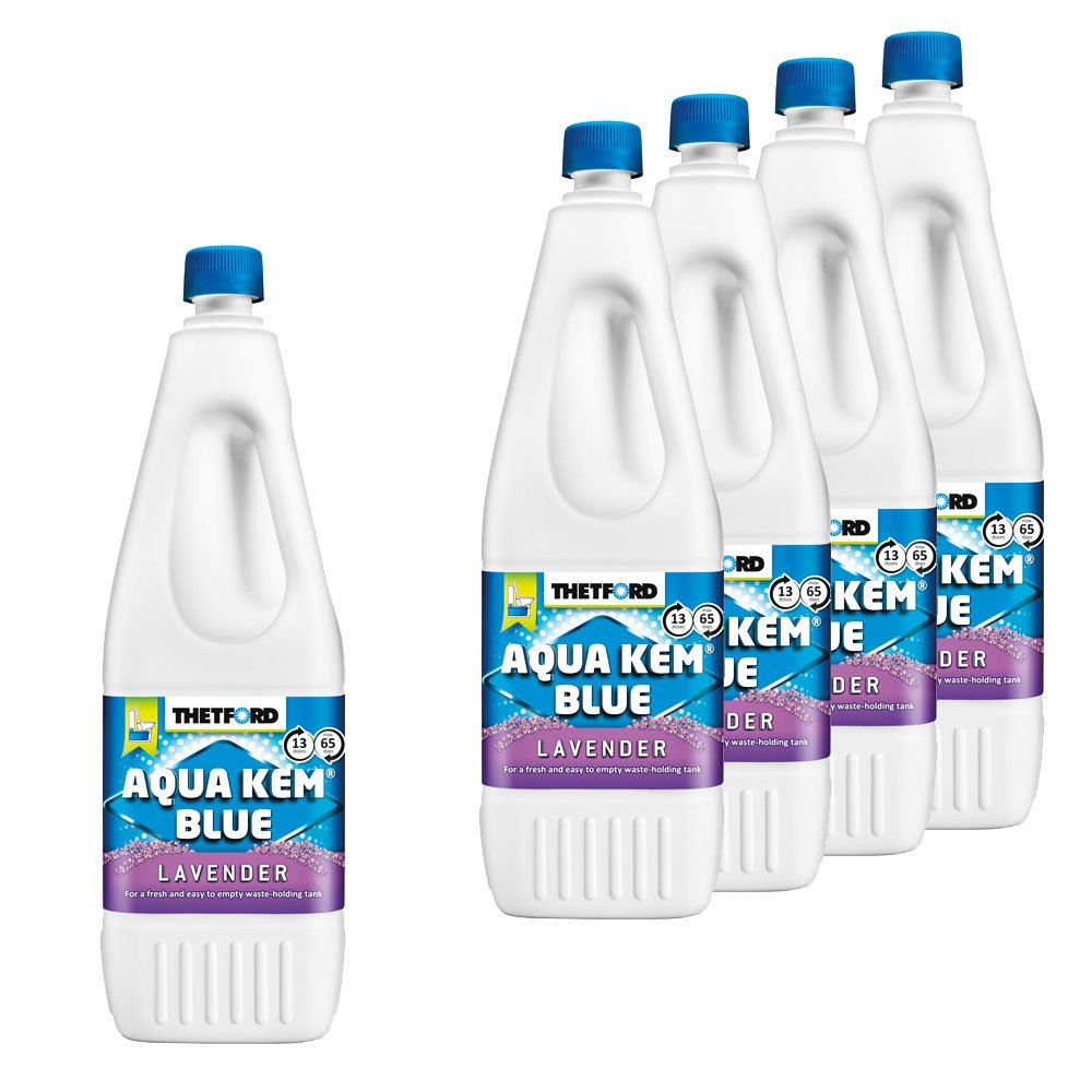 Thetford 5X Sanitärzusatz für Fäkalientank Aqua KEM Blau Lavender 2L mit Lavendelduft
