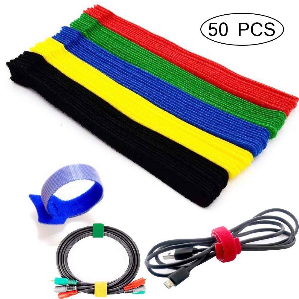 1,2 x 20 cm Vegena Lote de 50 sujeciones para cables de nailon ajustables y reutilizables 5 colores