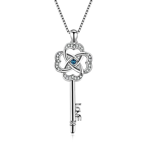 AOBOCO Sterling Silver Key Pendant Necklace Lucky Clover Key-to-Love Jewelry with Swarovski Crystals for Her Women