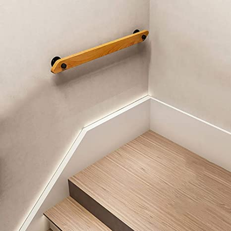 Rustic Round Corner Style HAOFAY Stair White Pipe Handrail for Indoor and Outdoor Steps Size:1ft//30cm Non-Slip Wrought Iron Wall Mounted Rails for Kids Support