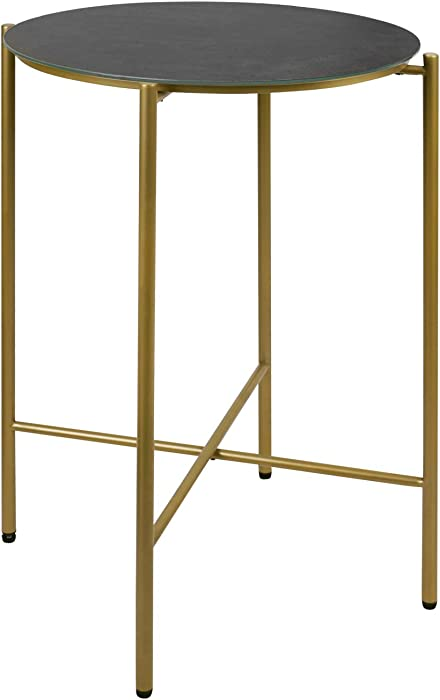 Modern Side Table, Moncot Round End Table with Brass Gold Metal Frame, Tempered Glass, Grey Top, Waterproof Outdoor & Indoor Corner Table, Plant Stand and Nightstand, ET116-GY