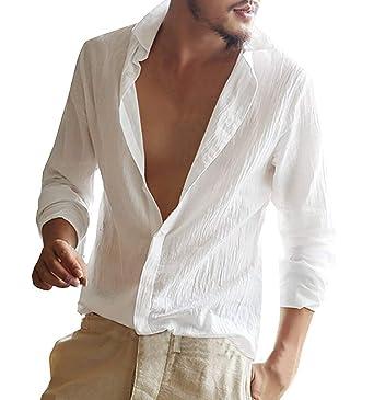 qualité authentique 100% de qualité supérieure Design moderne Minetom Homme Chemise en Lin Manches Longues Slim Fit Sexy Col V Shirt Tops  Mode Casual Plage Chemise Confortable Respirant