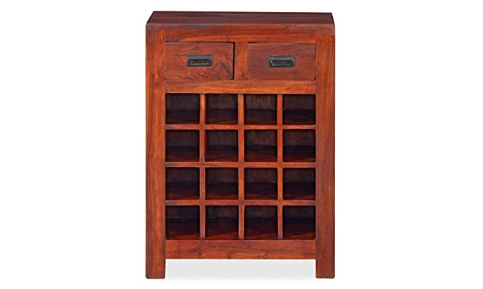 Jiya Creation Bar Cabinet | Wine Rack with Glass Storage | Bar Unit for Home Decor (Sheesham Wood) (Teak Shade)