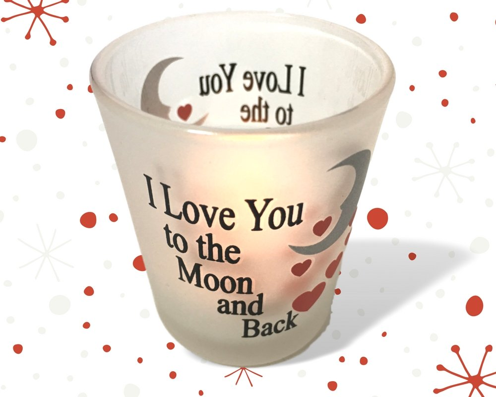 I Love You to the Moon & Back Frosted Glass Votive Holders - Red Hearts & Silver Moon - Set of 3 Assorted - Three Flameless Flickering LED Candles Included by Banberry Designs (Image #6)