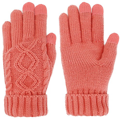 Simplicity Juniors Knit Three Touchscreen Fingers Gloves Small Apricot
