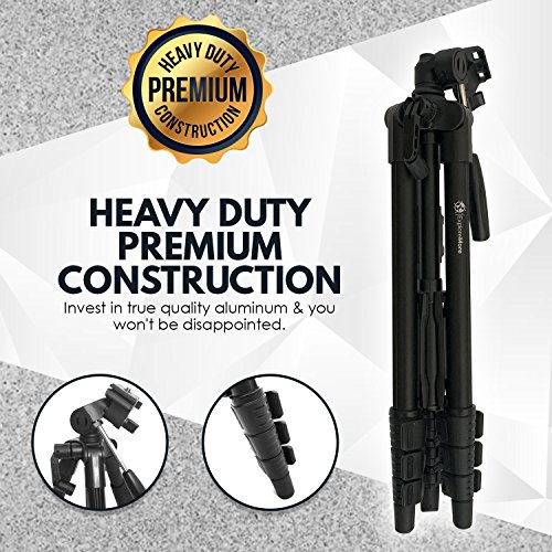 Lightweight Travel Tripod 48 Inch | Bluetooth Remote, Phone Mount, GoPro Mount, Carrying Bag | Premium Aluminum | Digital Camera, Android, DSLR, iPhone X, 8, 7, 6 Plus, Samsung Galaxy | Photo, Video by Explore More Creative Co. (Image #4)