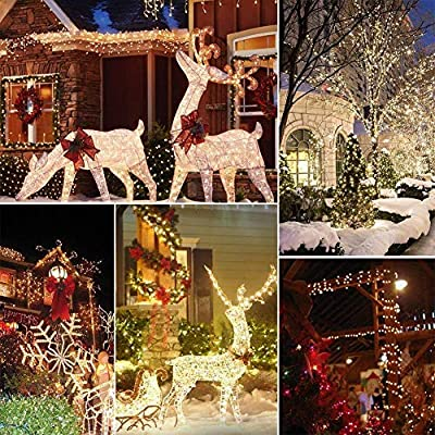 [72foot 200 Led] Solar String Lights Outdoor\Garden Lighting, 8 Mode (Steady, Flash), Waterproof, Fairy Lamp Decoration for Halloween, Yard, Fence, Patio, Tree, Party, Holiday, Home (Warm White) : Garden & Outdoor