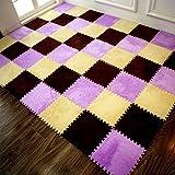Furry Plush Eva Foam Anti-slip & Durable Carpet Rug Soft Cushion Mats - Set of 9 Tiles(12x12 inches)-Ideal for Nursery Decor,Playroom & Kids Baby Room (Purple)