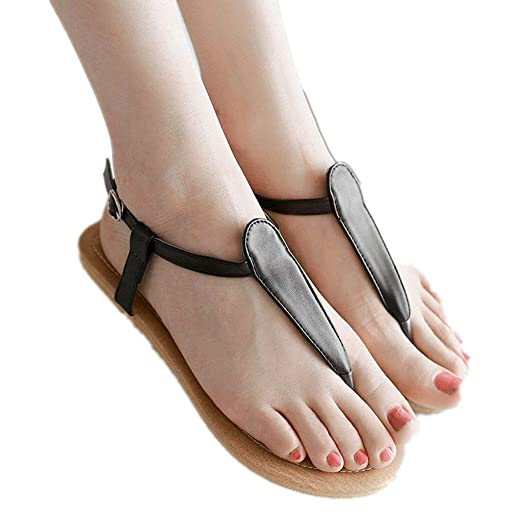 769e74834b0 Flat Thong Sandals with T-Strap and Adjustable Ankle Buckle for Women  Casual Thong Ankle