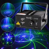 SUNY Professional Green Blue Laser Blue LED 24 Gobos Effect Stage Light for DJ Disco Store Home Show Birthday Party Wedding Stage Lighting Projector Z24GB