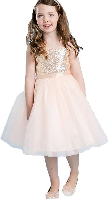 ba0bfd26d1af Amazon.com  Udresses Rose Gold Flower Girl Dresses Girl Party Dress ...