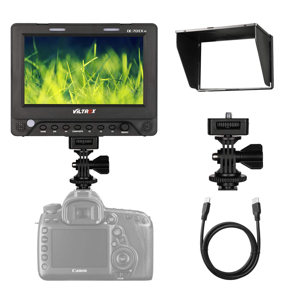 Viltrox DC-70EX 7'' 4K HD Clip-on HDMI/SDI/AV Input Output Camera Video LCD Monitor Display Compatible for Canon Nikon Pentax Olympus Sony and Other DSLR Cameras by VILTROX