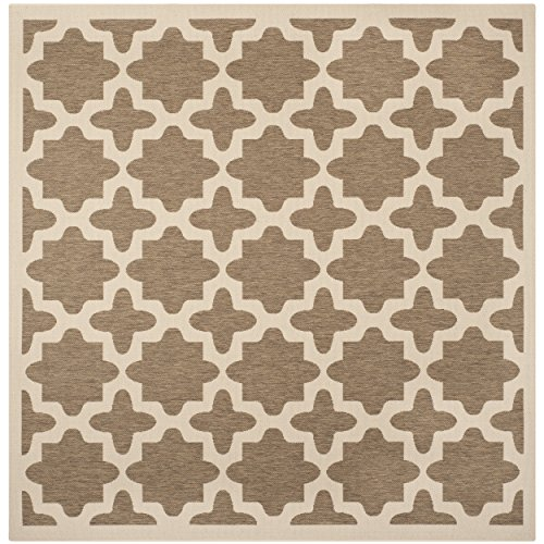Safavieh Courtyard Collection CY6913-242 Brown and Bone Indoor/ Outdoor Square Area Rug (7'10