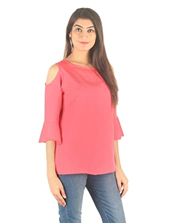 f627ee6222f STakriti1 Women's Casual American Crepe Coral Off Cold Shoulder Cut Sleeves Plain  Top (Pink): Amazon.in: Clothing & Accessories