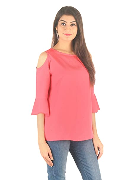 7a044410475cae STakriti1 AKRITI 1 Women s American Crepe Coral Off Shoulder Cut Sleeves  Plain Top (Pink)  Amazon.in  Clothing   Accessories