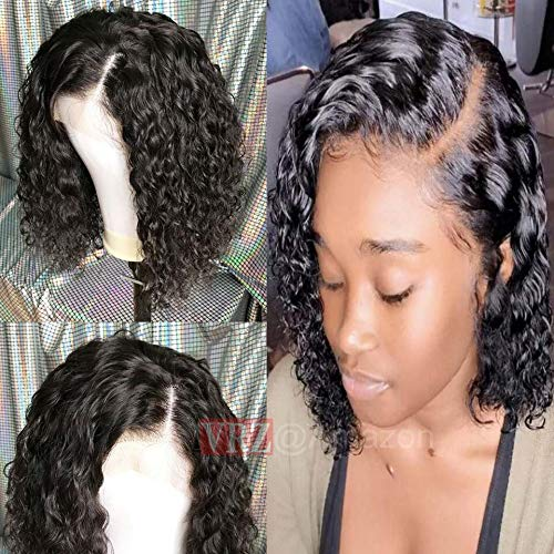VRZ Curly Lace Front Wigs Short Human Hair Wigs 13x6 Afro Kinky Curly Lace Wigs for Women 8 inch