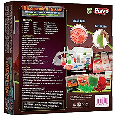 Playz Disgusting n' Gross Zombie Poop, Boogers, & Bloody Slime Science Activity & Experiment Set - 34+ Tools to Make Levitating Eyeballs, Gizzards, Poop Putty & Boiled Boogers for Boys & Girls Age 8+: Toys & Games