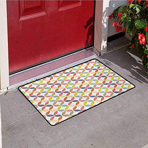 (Jinguizi Geometric Circle Universal Door mat Ornamental Vintage Design Connected Arcs Intersecting Centre Discs Design Door mat Floor Decoration W15.7 x L23.6 Inch Multicolor)