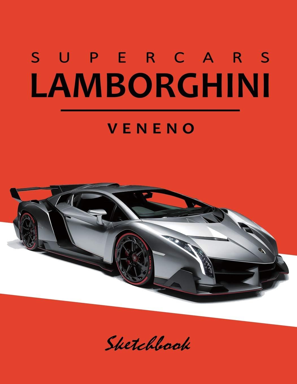 Supercars Lamborghini Veneno Sketchbook Blank Paper for