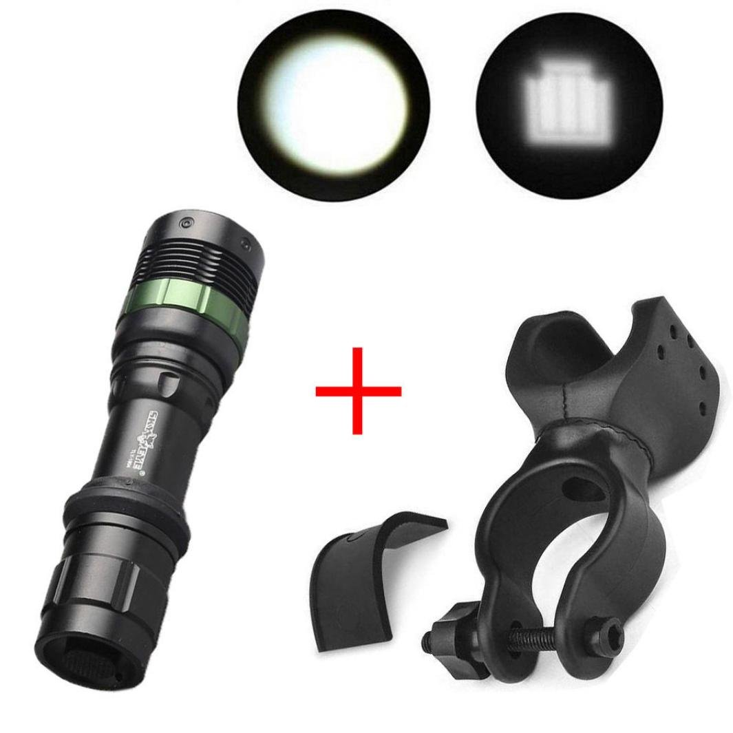 Flashlight, Bokeley Super Bright XML T6 LED Zoomable Flashlight Bike Bicycle 360°Mount Clip