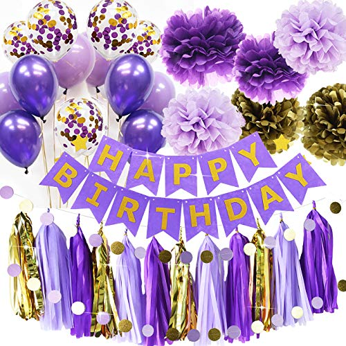 Purple Gold Birthday Party Decorations Qian's Party Purple Gold Confetti Balloons Happy Birthday Banner Purple Gold Birthday Party Supplies for Women's 20th/30th/40th/50th Birthday Party Decorations]()
