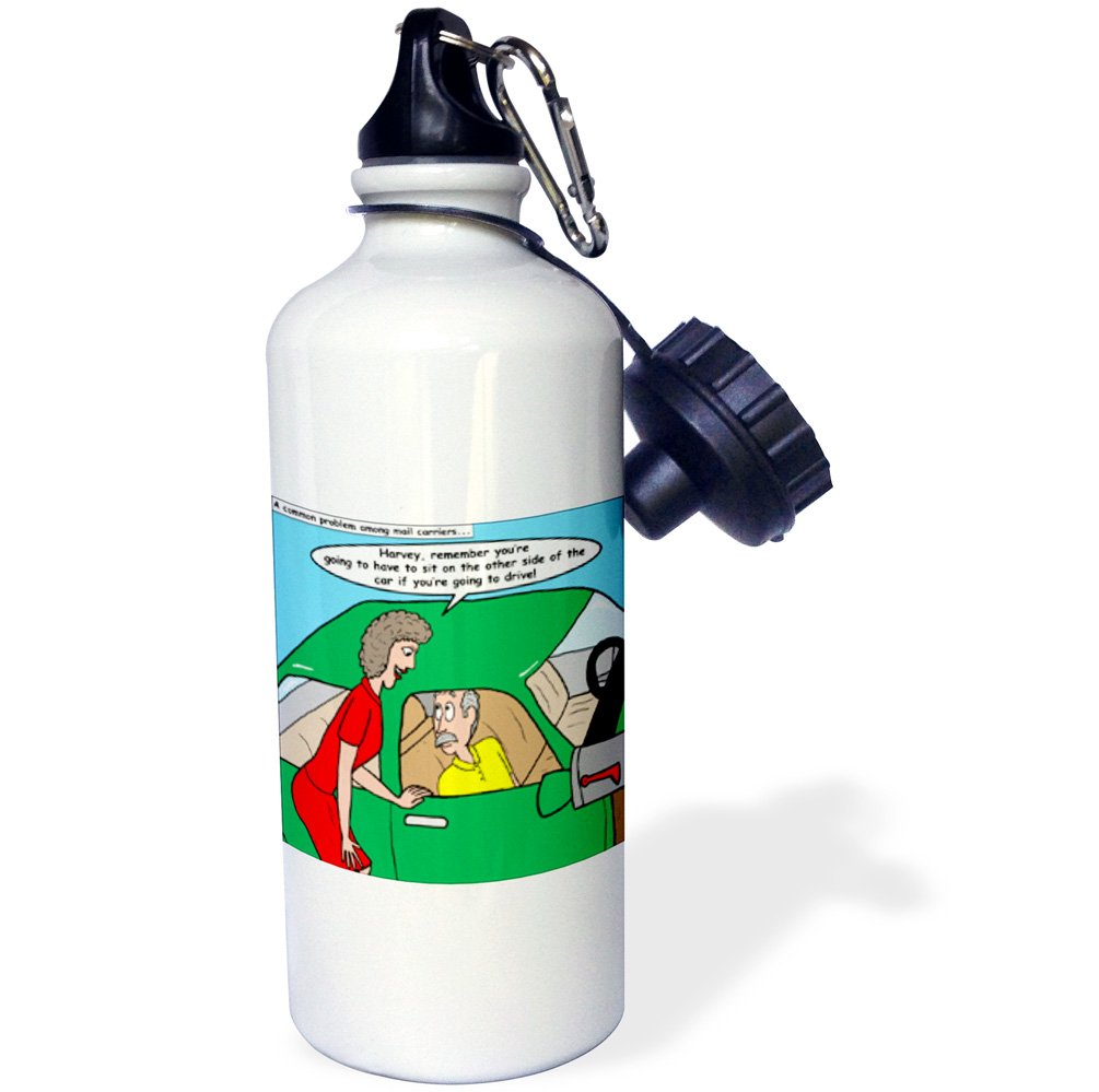 3dRose wb/_3100/_1Mailman Driving Dyslexia Sports Water Bottle 21 oz White