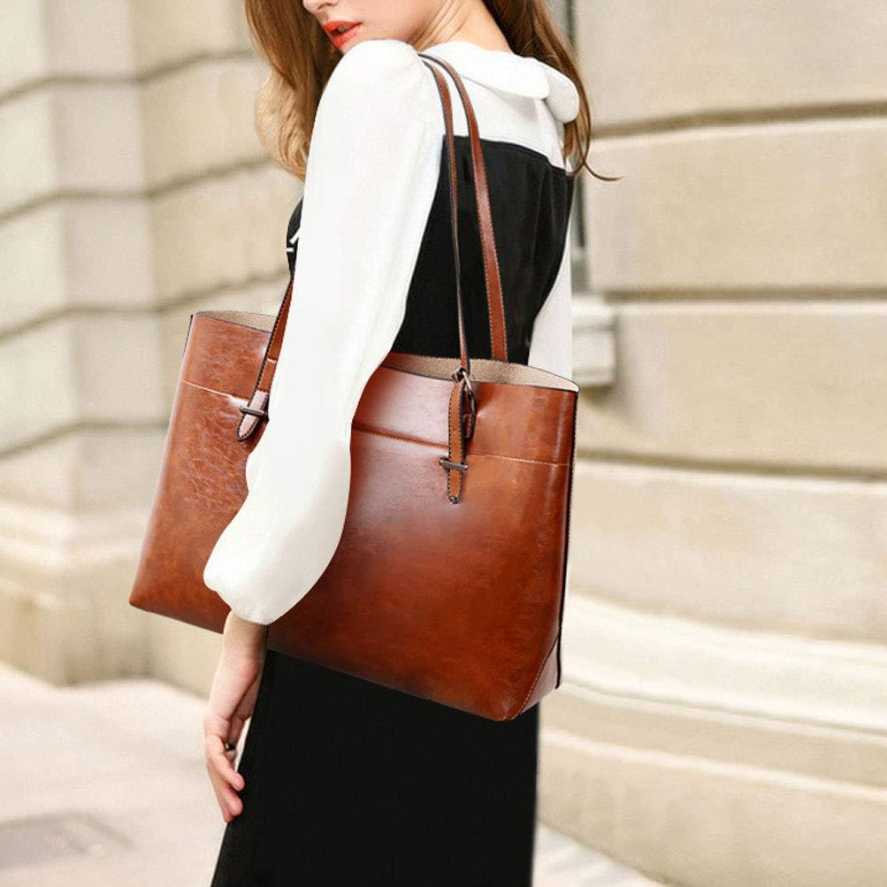 Vintage PU Bolsos Mujer 3 Piezas Set Cuero Elegante Tote Bag Bolso de Mano Retro Bolso de Viaje Marr/ón