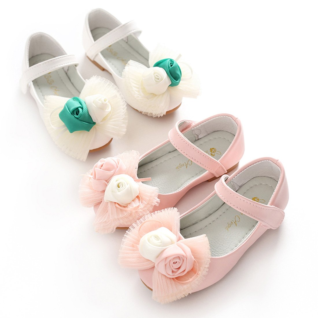 YIBLBOX Toddler Kids Girls Princess Dress up Shoes Flower Lace Ballet Flats Wedding Dancing Mary Janes