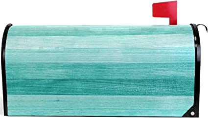 Amazon Com Pfrewn Teal Turquoise Mailbox Cover Magnetic Standard Size Green Wood Mailbox Covers Letter Post Box Cover Wrap Decoration Welcome Home Garden Outdoor 21 Lx 18 W Garden Outdoor