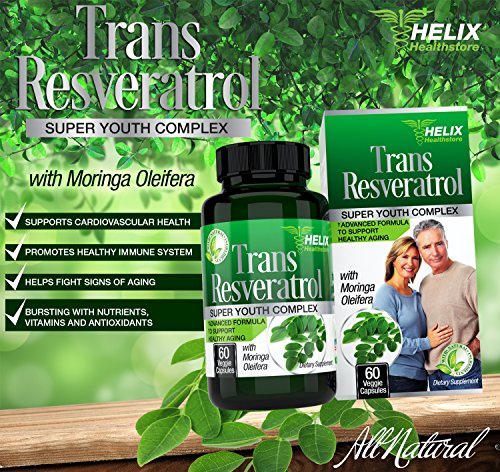 Trans Resveratrol Antioxidant - BEST Anti Aging Supplement for Women amp Men with Moringa leaf powder - Vitamin C - Acai Grape Seed Extract Capsules for Heart Health - Weight Loss amp Immune System Boost Discount