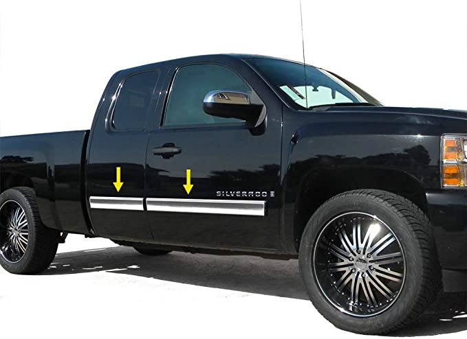 Works with 2007-2013 Chevy Silverado//GMC Sierra Extended Cab Long Bed Body Side Molding Trim 1.5 Wide 8PC Made in USA