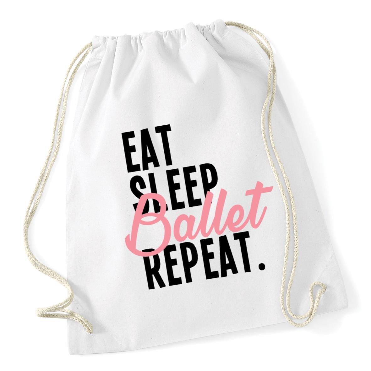 HippoWarehouse Eat Sleep Ballet Repeat Drawstring Cotton School Gym Kid Bag Sack 37cm x 46cm, 12 litres