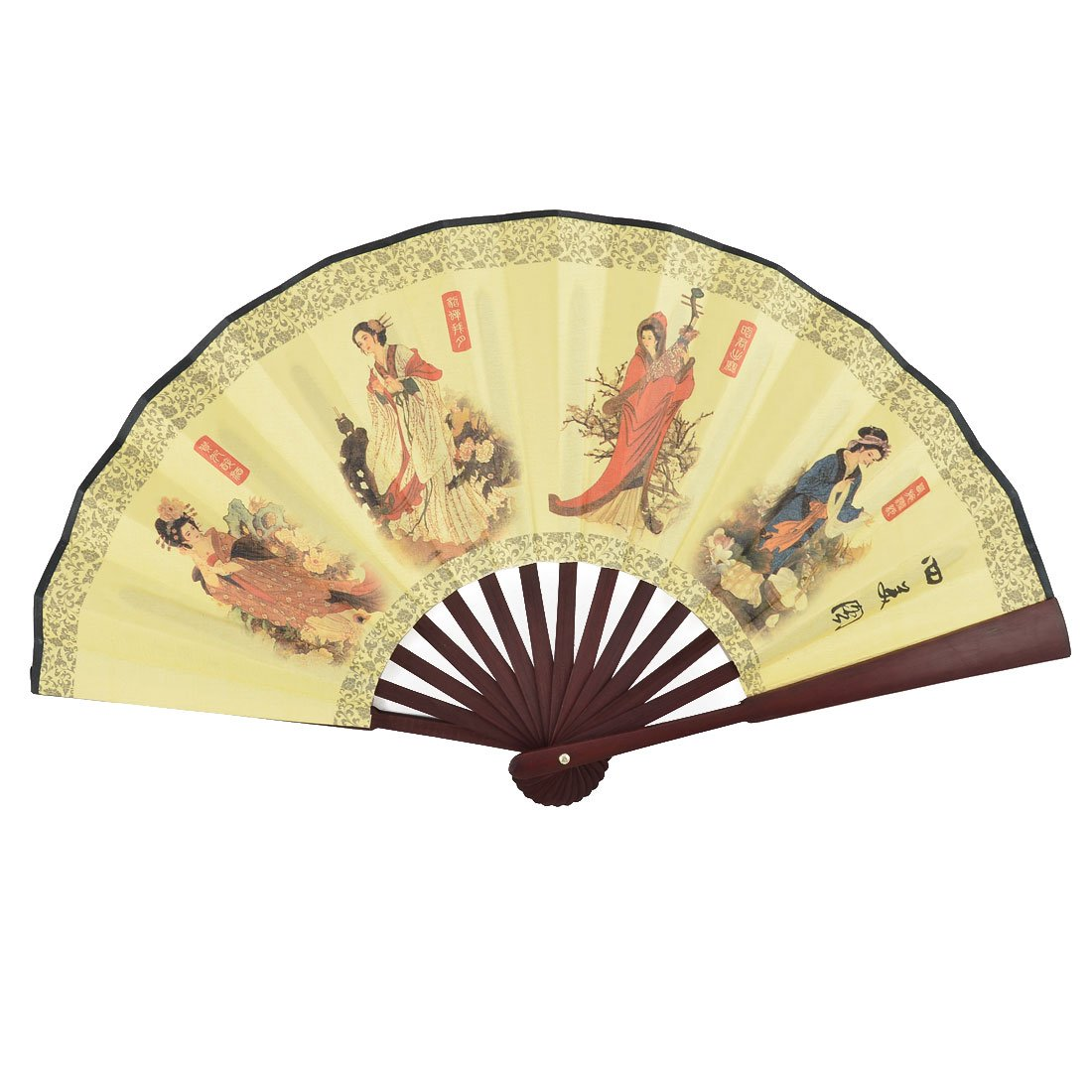 uxcell Bamboo Handle Beauty Painting Poem Pattern Chinese Vintage Style Foldable Hand Fan