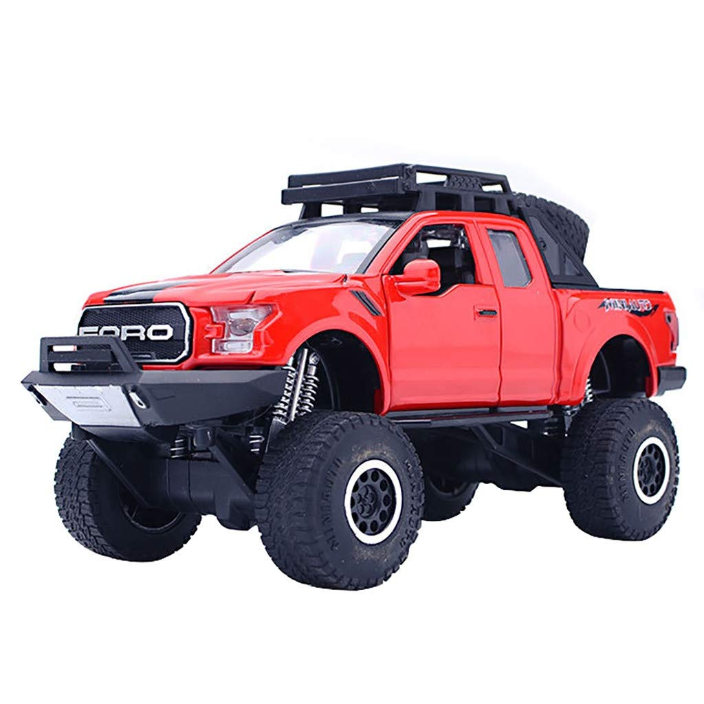 1:32 Pickup Diecast with Music and LED Flashing Headlight Car Model Toys Convertible Off Road Exploration Diecast Model Toy for Children